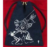壬生古代藍染め巾着袋ウサギ白